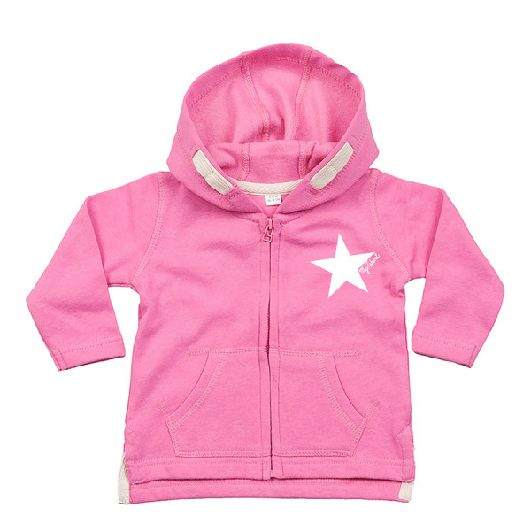 Felpa baby zip cappuccio stella bianca fuxi