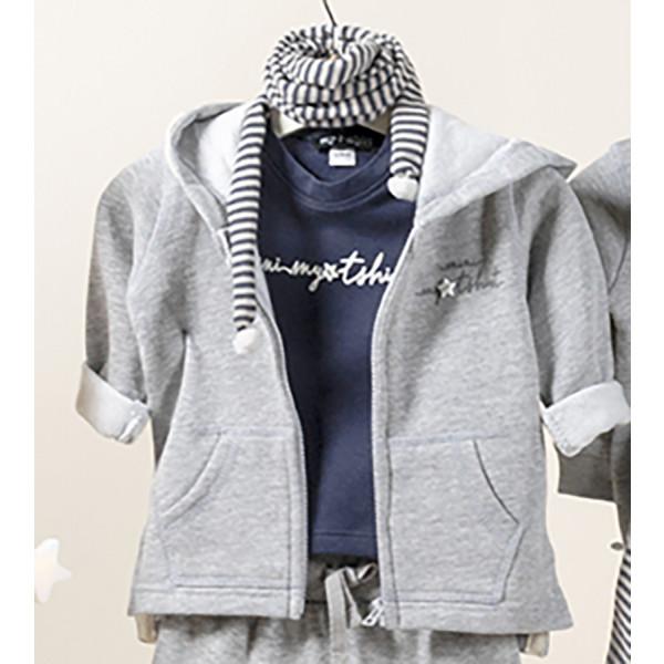 Felpa baby zip e cappuccio logata outline grigio chiar