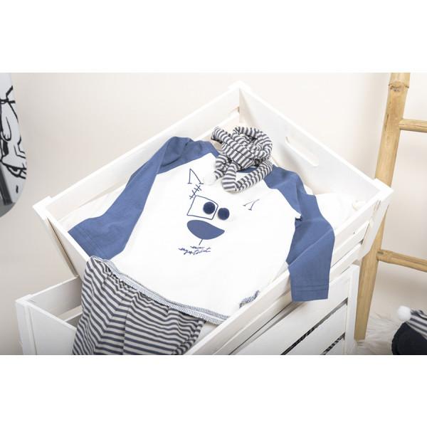 T-shirt baby m/l baseball teddy bear pompon bianco/bl