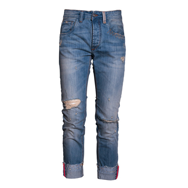 Denim regular man con tagli e risvolto c/banda denim bl