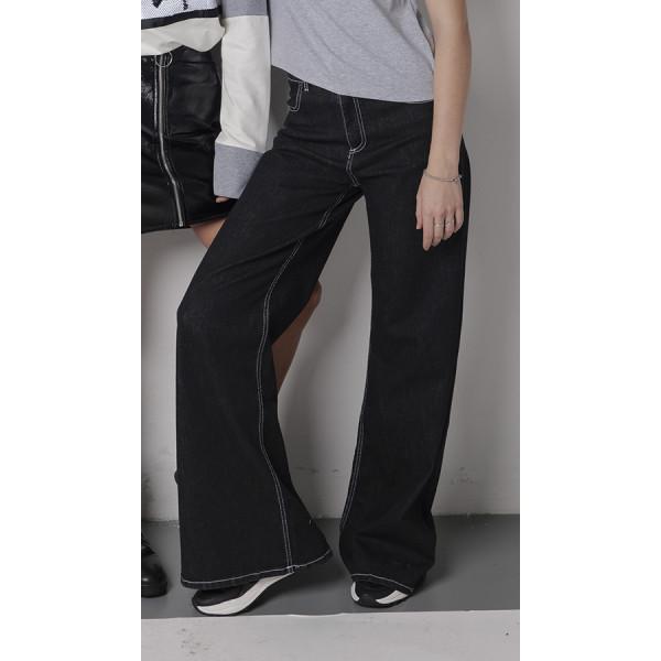 Jeans donna gamba larga con cuciture in contrasto denim blu scuro