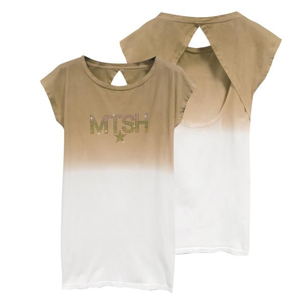 Abito jersey donna sfumato mtsh strass beige / off white