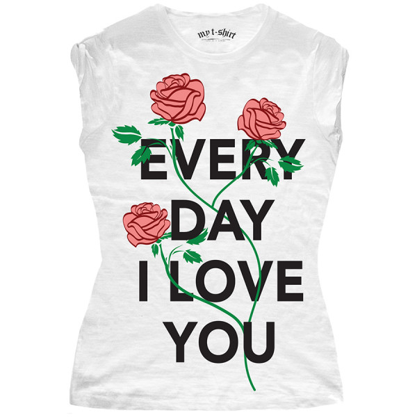 T-shirt malfile' grafica donna every day bianco