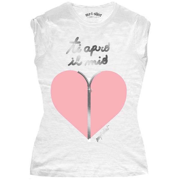 T-shirt malfile' grafica donna ti apro il mio cuore lamina