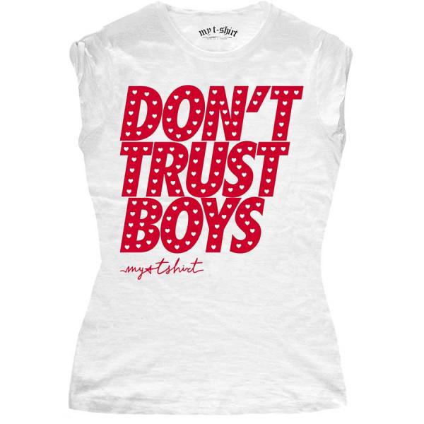 T-shirt malfile' grafica donna don't trust boys bianco