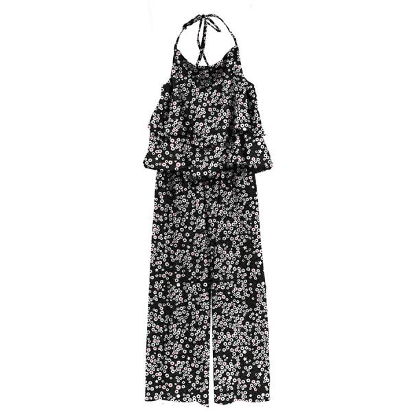Tuta donna lunga con rouches viscosa stampata nero / margherite