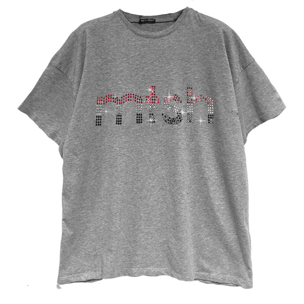 T-shirt m/c jersey over giro sceso mtsh strass multicolor