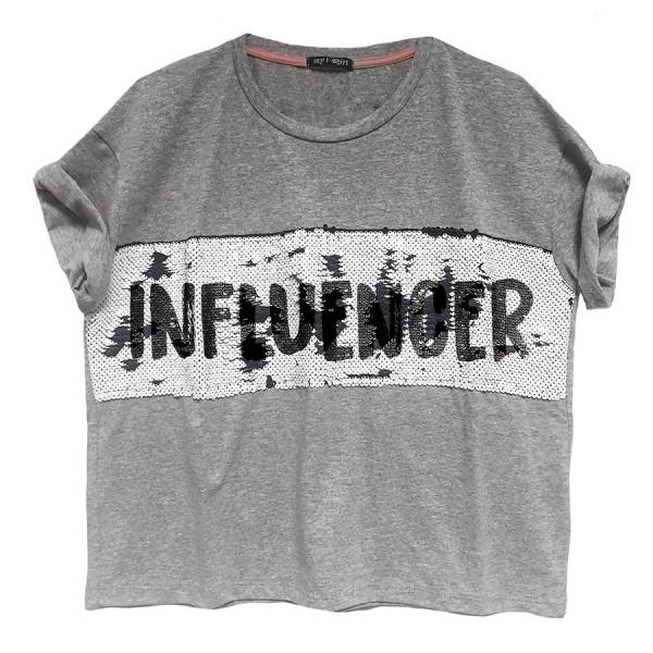 T-shirt m/c scatoletta inserto paillettes infliuencer