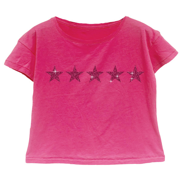 T-shirt m/c crop top jersey stelle glitter fuxia