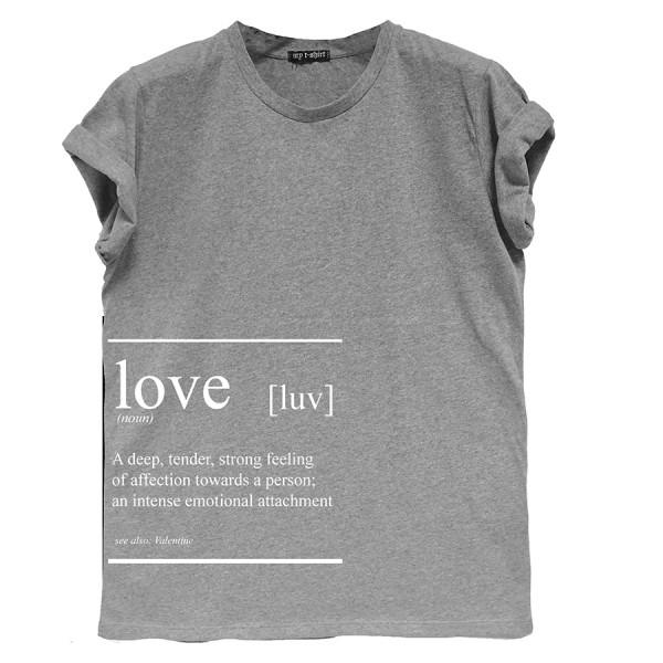 T-shirt m/c jersey boy fit donna love text grigio melange medio