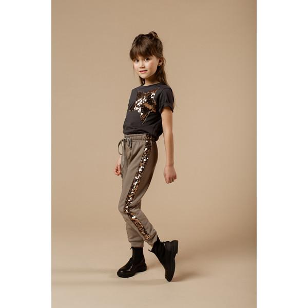 Jogging girl con banda laterale paillettes bronzo / fango