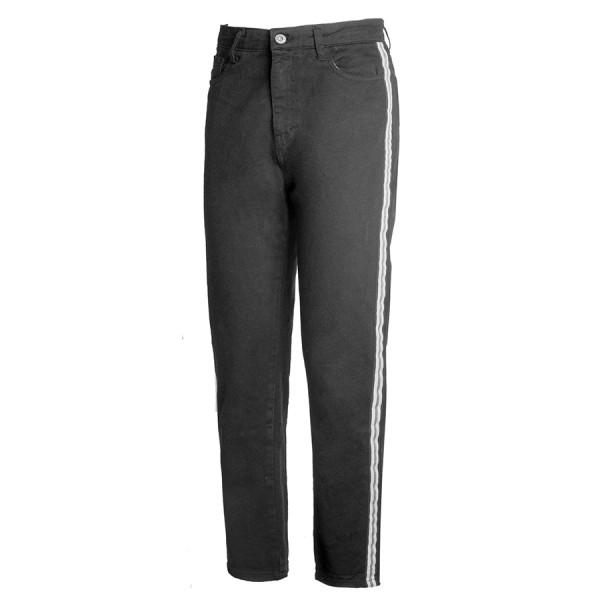Pantalone in denim mom fit c/banda denim black